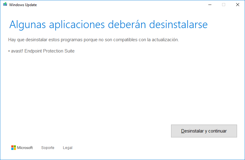 Captura de pantalla del aviso de Windows Update